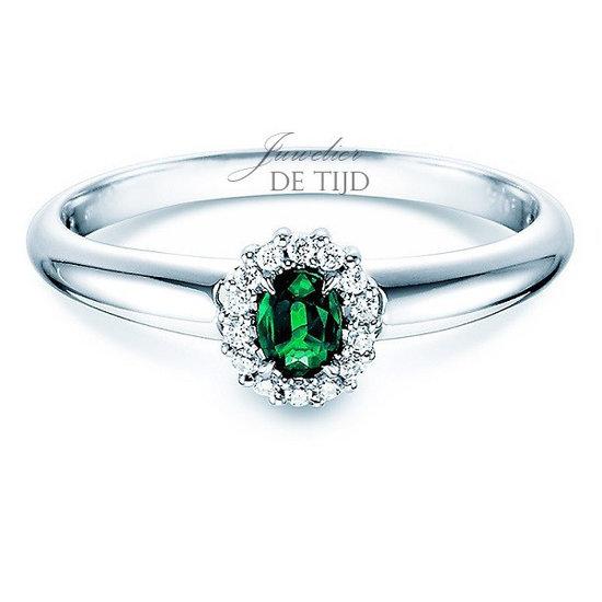 14 karaats wit gouden entourage ring met smaragd en briljant geslepen diamant