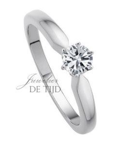 14 karaats wit gouden solitaire ring met 0,25crt briljant geslepen diamant