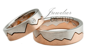Trouwringen Bi-color rosé/wit goud met briljant geslepen diamant