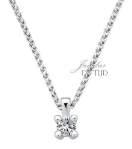 14 karaats wit gouden hanger met 0,05crt briljant geslepen diamant