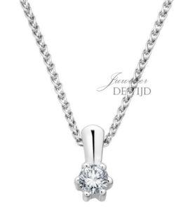 14 karaats wit gouden hanger met 0,10crt briljant geslepen diamant
