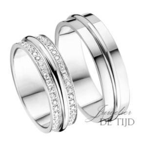 Wit gouden trouwringen 6mm breed met 86 briljant geslepen diamanten