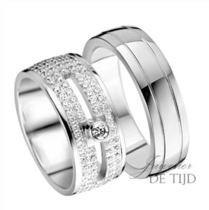 Wit gouden trouwringen 6- & 9mm breed met 213 briljant geslepen diamanten