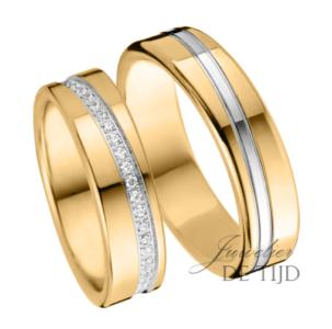 Geel gouden trouwringen 6mm breed met 47 briljant geslepen diamanten