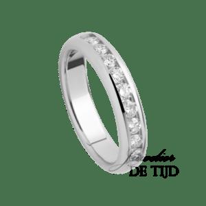 Wit gouden alliance ring met 9 briljant geslepen diamanten