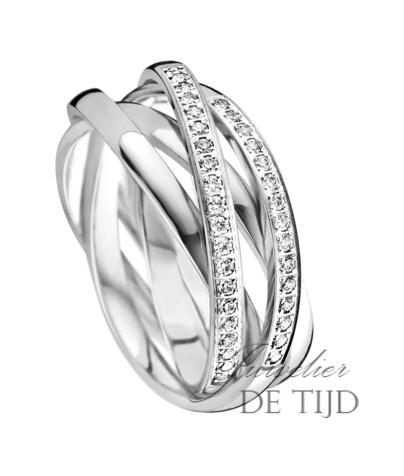 Wit gouden ring met 29 briljant geslepen diamanten, 7,5mm breed