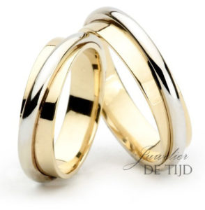 Bi-color geel/wit gouden trouwringen 5mm breed