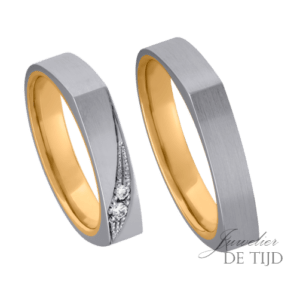 Palladium trouwringen 4mm breed en 3 briljant geslepen diamanten