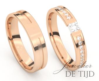 Rosé gouden trouwringen 3,5- en 4,0mm breed met 21 briljant geslepen diamanten