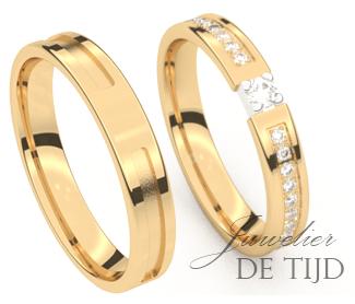 Geel gouden trouwringen 3,5- en 4,0mm breed met 21 briljant geslepen diamanten