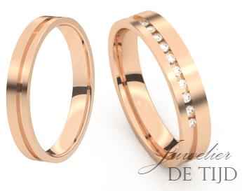 Rosé gouden trouwringen 4,0mm breed met 10 briljant geslepen diamanten