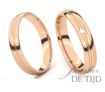 Rosé gouden trouwringen 4,0mm breed met 1 briljant geslepen diamant