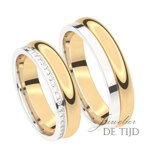 Bi-color geel met wit gouden Trouwringen 5,5mm breed met 48 briljant geslepen diamanten