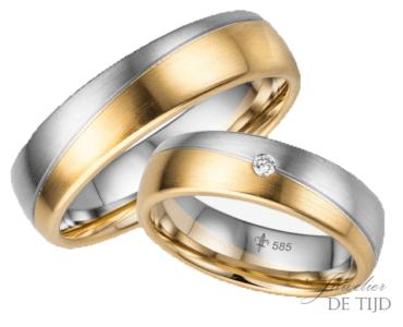 14 karaatsBi-color geel/wit gouden Trouwringen Chloé