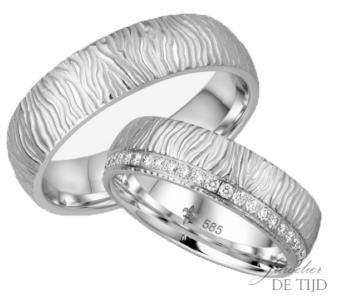 14 karaats wit gouden ambachtelijke Trouwringen Adèle