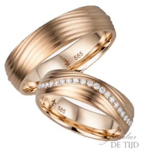 14 karaats rosé gouden trouwringen Angéline