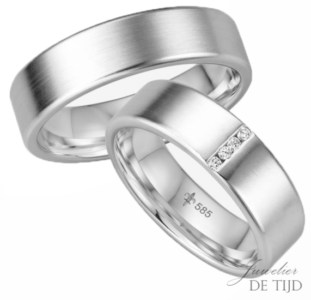 14 karaats wit gouden trouwringen Juliette