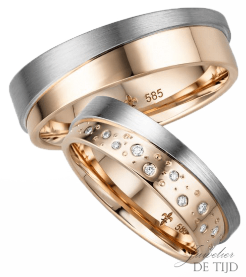 14 karaatsBi-color rosé/wit gouden Trouwringen Celine