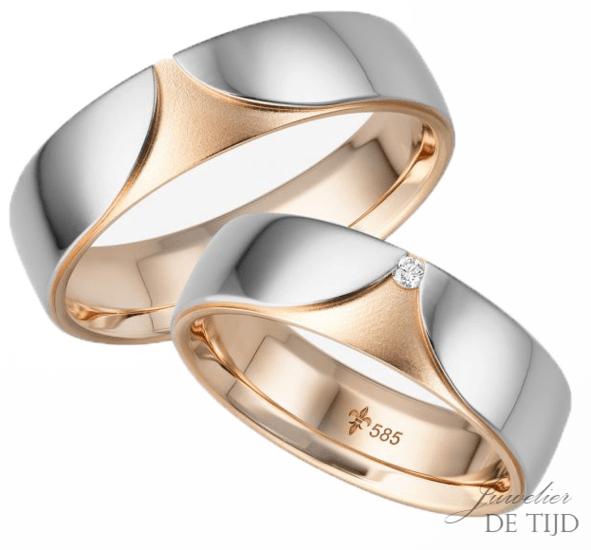 14 karaatsBi-color rosé/wit gouden Trouwringen Sophie