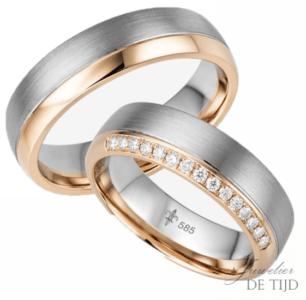 14 karaatsBi-color rosé/wit gouden Trouwringen Claire