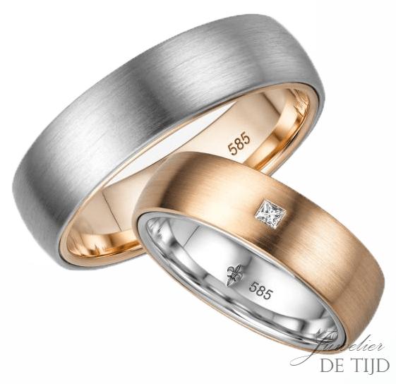 14 karaatsBi-color rosé/wit gouden Trouwringen Camille