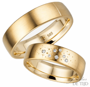 14 karaats geel gouden trouwringen Ariane
