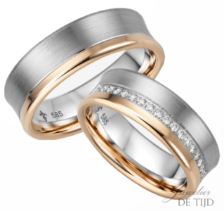 14 karaats Bi-color rosé/wit gouden trouwringen Cathérine