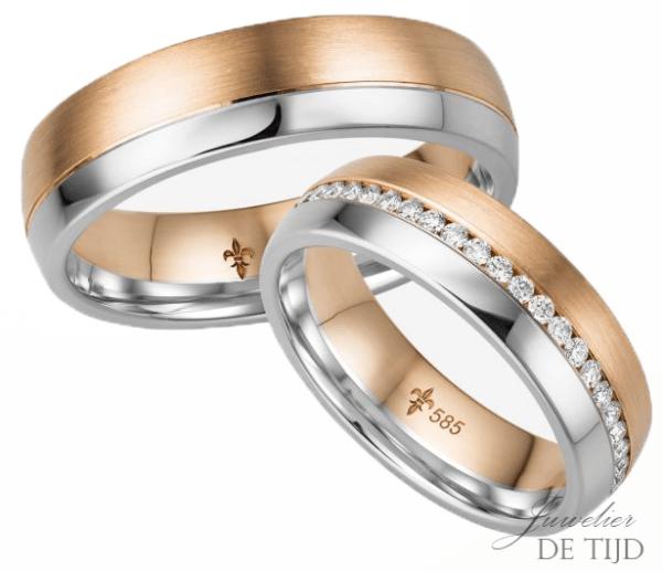 14 karaatsBi-color rosé/wit gouden Trouwringen Léonie