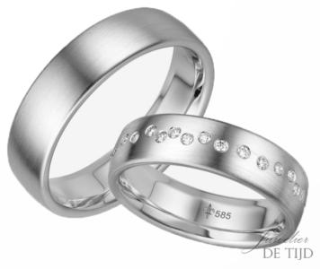 14 karaats wit gouden trouwringen Blanche