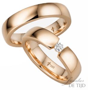 14 karaats rosé gouden trouwringen Fleur