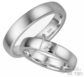 14 karaats wit gouden trouwringen Bernadette
