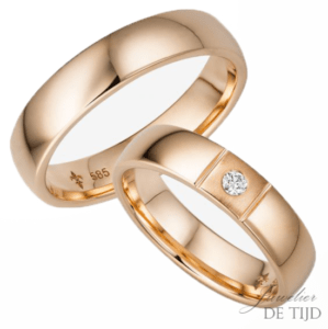 14 karaats rosé gouden trouwringen Francine