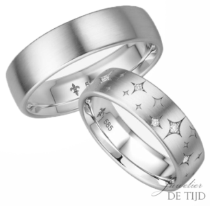 14 karaats wit gouden trouwringen Élaine