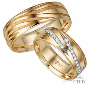 14 karaats geel gouden trouwringen Paulette