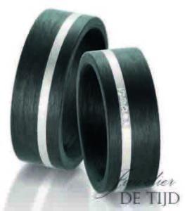 Palladium met carbon trouwringen en 5 briljant geslepen diamanten 8mm breed