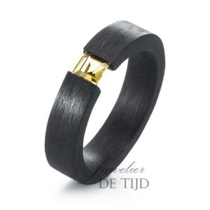 Carbon ring 5mm breed met Citrin steen