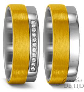 Titanium met geel goud Trouwringen 6mm breed met 11 briljant geslepen diamanten