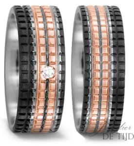 Titanium met carbon en rosé goud Trouwringen 7,5mm breed met 1 briljant geslepen diamant