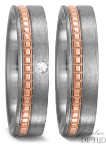 Titanium met rosé goud Trouwringen 5,5mm breed met 1 briljant geslepen diamant