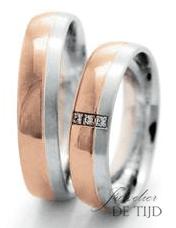 Bi-color rood/wit goud trouwringen 5mm breed met 3 briljant geslepen diamanten