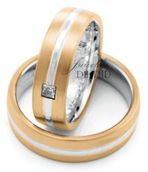 Abrikoos met wit gouden trouwringen 6mm breed met 1 briljant geslepen diamant