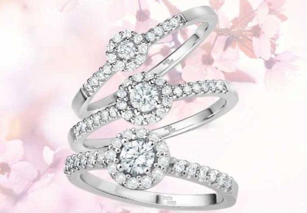 14 karaats wit gouden ringen met briljant in 3 formaten