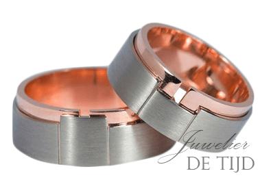 Bi-color rosé/wit gouden trouwringen 8mm breed