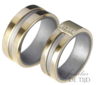 Bi-color wit/geel gouden trouwringen met 5 briljant geslepen diamanten