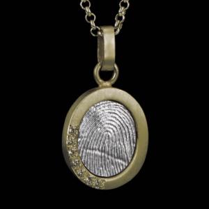 Gouden met zilveren hanger met 7 briljanten en vingerafdruk