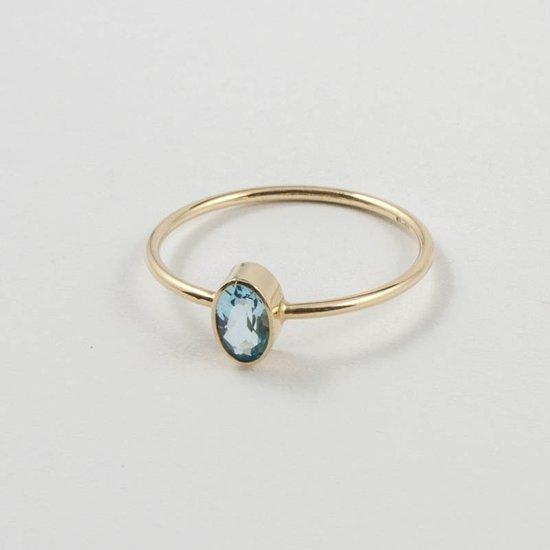 Fairtrade gouden ring met aquamarijn
