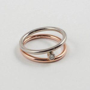 Fairtrade 14 karaats Bi-color geel met wit gouden ring met briljant geslepen diamant