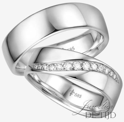 Wit gouden Trouwringen met 13 briljant geslepen diamanten