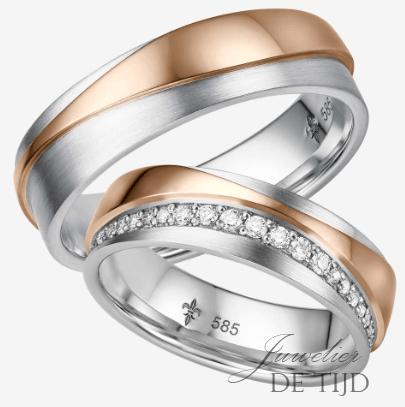 Bi-color wit/rosé gouden Trouwringen met 48 briljant geslepen diamanten