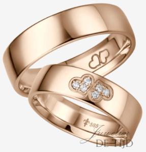 Rosé gouden trouwringen met 6 briljant geslepen diamanten